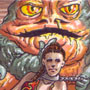 Slave Leia and Jabba Sketch Card by CS3Ink