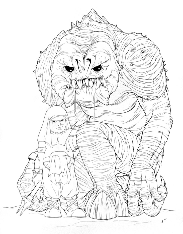 Cute Rancor and Keeper Ink Drawing