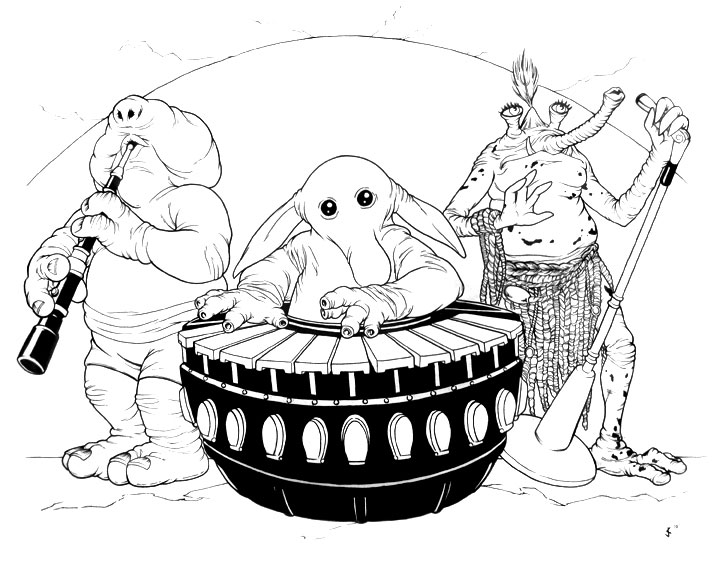 Rebo Band Ink Drawing By Jeff Confer