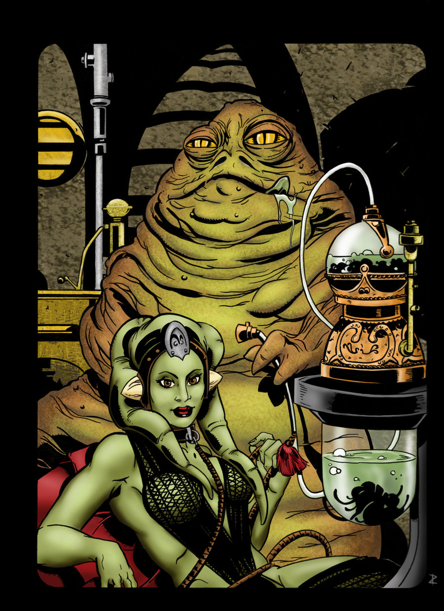 Jabba and Oola Ink Drawing by Jeff Mallinson | Mighty ... Jabba The Hutt And Oola