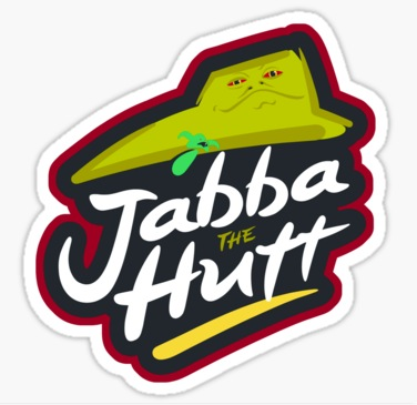 This parody of the pizza hut logo is another redbubble com sticker which is also available on clothing its a very similar idea to the other jabba themed