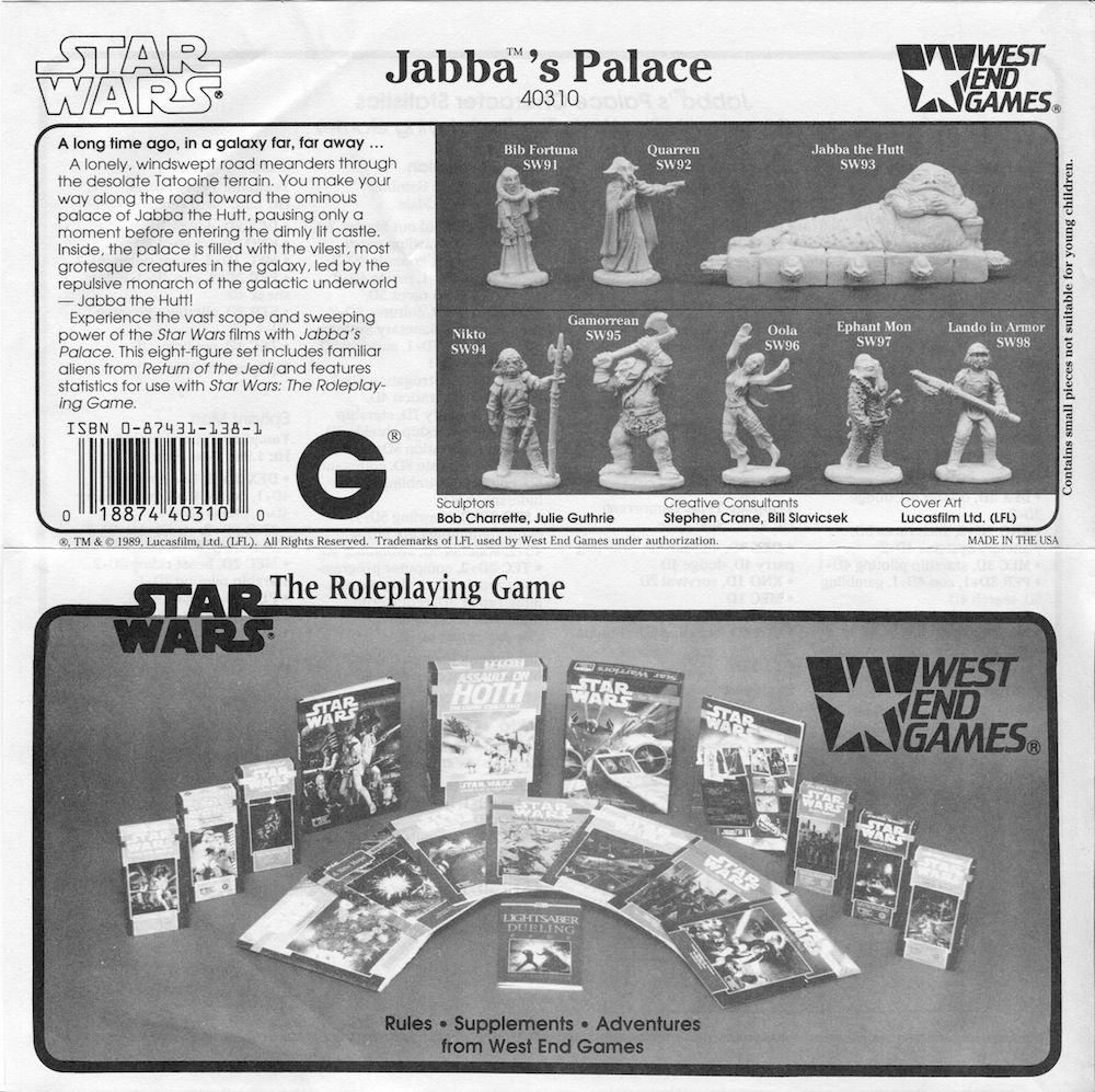 West End Game 25mm Jabba/'s Palace SW93 Jabba The Hutt Star Wars