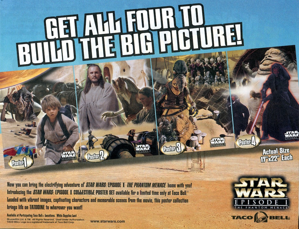 """the phantom menace"""" poster with jabba the hutt from taco bell"""